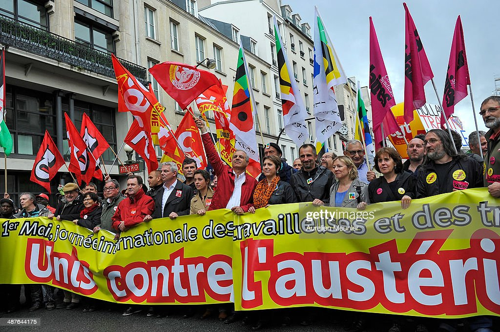 Thierry Lepaon the leader of the CGT Union and Bernadette Groison attend the annual May Day demonstrations on 1st May in Paris France Trade unionists...