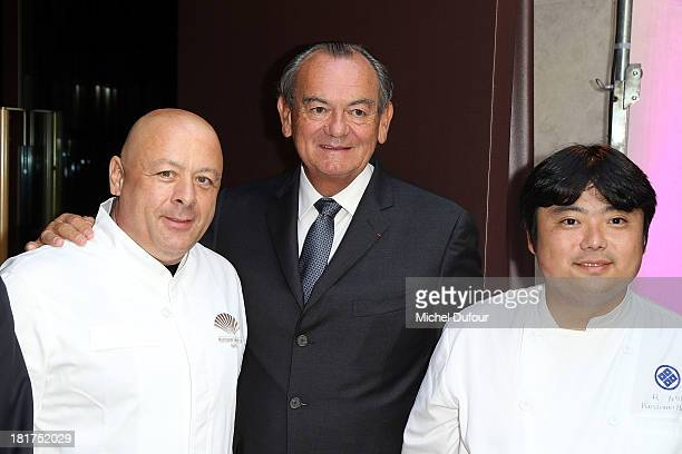 Thierry Marx Gilles Bragard Hagi attend a lunch organised by the 'Club des Chefs des Chefs' in honor of the Japanese Head Chef Hagi from Fukushima at...