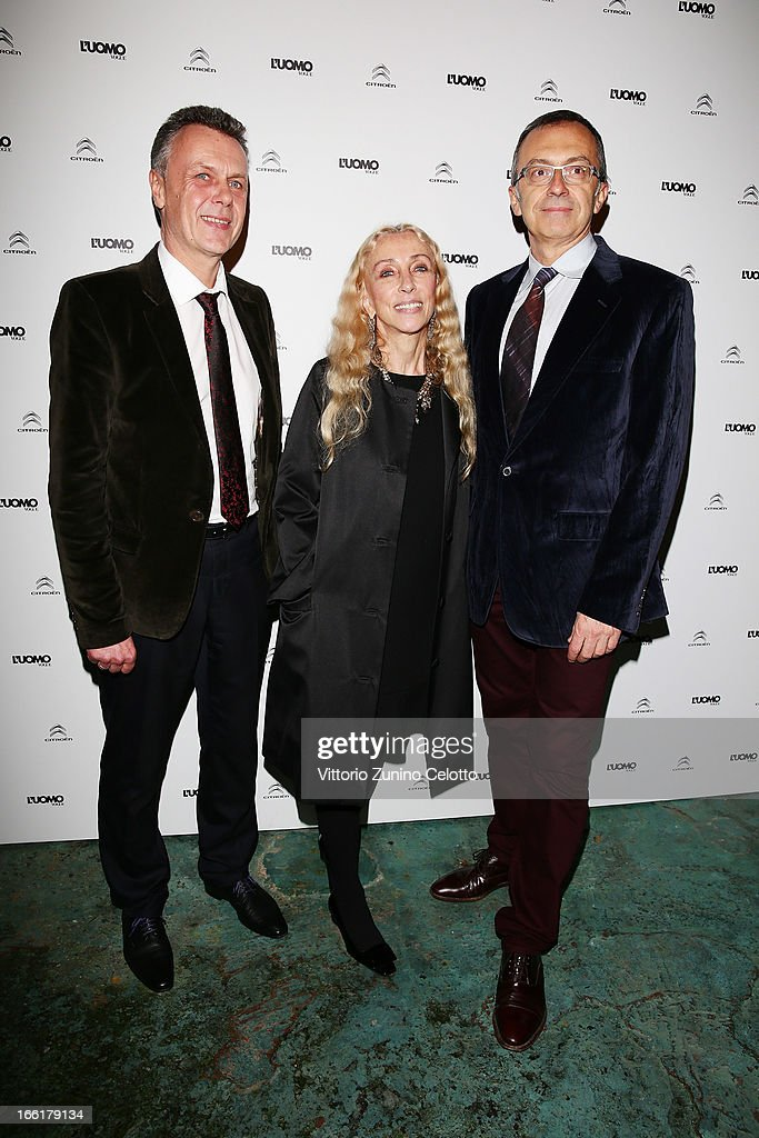 Thierry Metroz, Franca Sozzani, Massimo Borio attend Citroen DS Sofa and DS3 Cabrio L'Uomo Vogue Limited Edition cocktail at Corso Como 10 on April 9, 2013 in Milan, Italy.