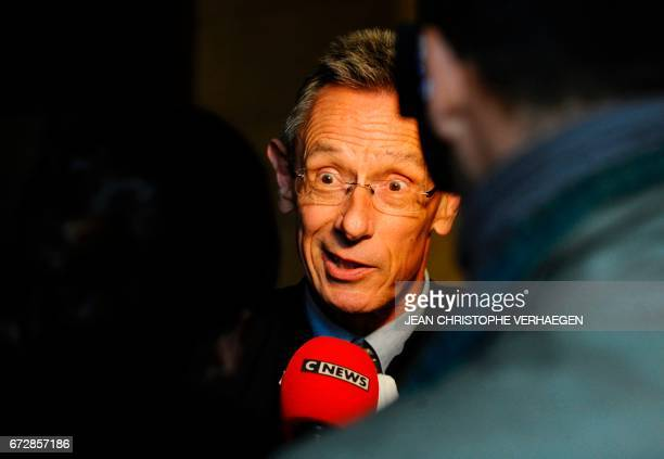 CORRECTION Thierry Moser lawyer of Alexandre Beckrich's father speaks to journalists during the trial of Francis Heaulme on April 25 2017 in Metz...