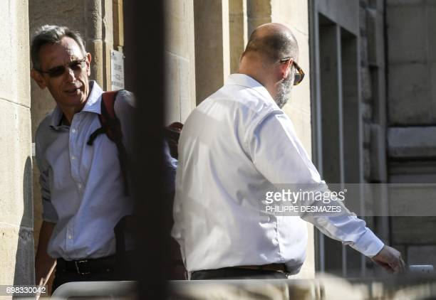 Thierry Moser lawyer of Gregory's parents speaks with Marcel Jacob's lawyer Stephane Giuranna upon his arrival at Dijon's courthouse on June 20 prior...