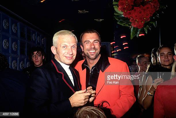 Thierry Mugler and Jean Paul Gaultier attend a fashion week Party at Les Bains Douches in the 1990s in Paris France