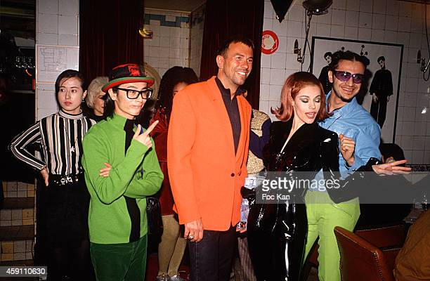 Thierry Mugler and members of Dee Lite band attend a fashion week Party at Les Bains Douches in the 1980s in Paris France