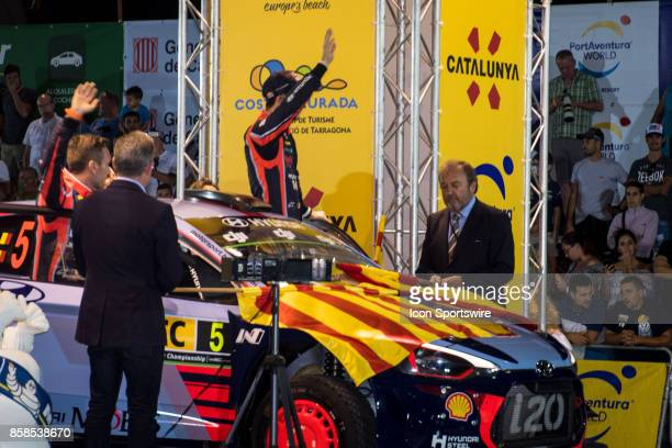 Thierry Neuville and codriver Nicolas Gilsoul of Hyundai Motorsport are flagged away at the start of the Rally de España round of the 2017 FIA World...