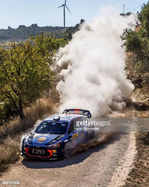 Thierry Neuville and codriver Nicolas Gilsoul of Hyundai Motorsport compete on the Terra Alta Stage of the Rally de Espana round of the 2017 FIA...