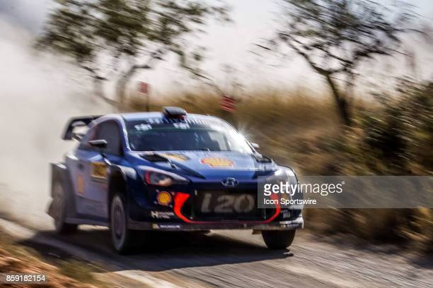 Thierry Neuville and codriver Nicolas Gilsoul of Hyundai Motorsport compete on the run to the finish of the Caseres Stage of the Rally de Espana...
