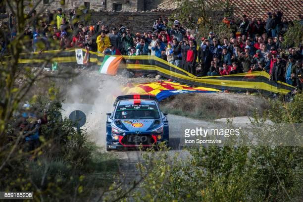 Thierry Neuville and codriver Nicolas Gilsoul of Hyundai Motorsport compete during the Savalla Stage of the Rally de Espana round of the 2017 FIA...