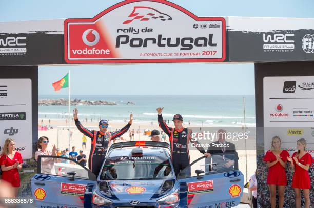 Thierry Neuville and Nicolas Gilsoul celebrates the third place at the award ceremony awards for the WRC Portugal on May 21 2017 in Matosinhos near...