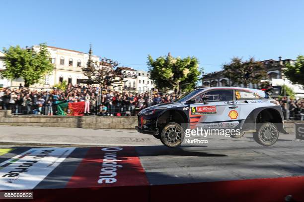 Thierry Neuville and Nicolas Gilsoul in Hyundai i20 Coupe WRC of Hyundai Motorsport in action during the SS8 Braga Street Stage of WRC Vodafone Rally...