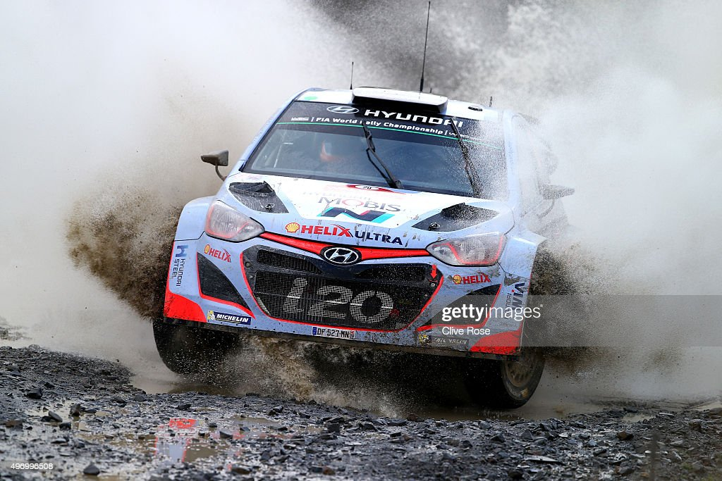 <a gi-track='captionPersonalityLinkClicked' href=/galleries/search?phrase=Thierry+Neuville&family=editorial&specificpeople=8627679 ng-click='$event.stopPropagation()'>Thierry Neuville</a> and Nicolas Gilsoul of Belgium pilot the HYUNDAI Motorsport N i20 during the Sweet Lamb stage of the FIA World Rally Championship Great Britain on November 13, 2015 in Pont Rhydgaled, Wales.