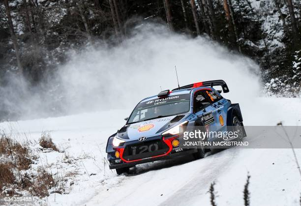 Thierry Neuville of Belgium and his codriver Nicolas Gilsoul steer their Hyundai i20 Coupe WRC during the Shakedown of the Rally Sweden second round...