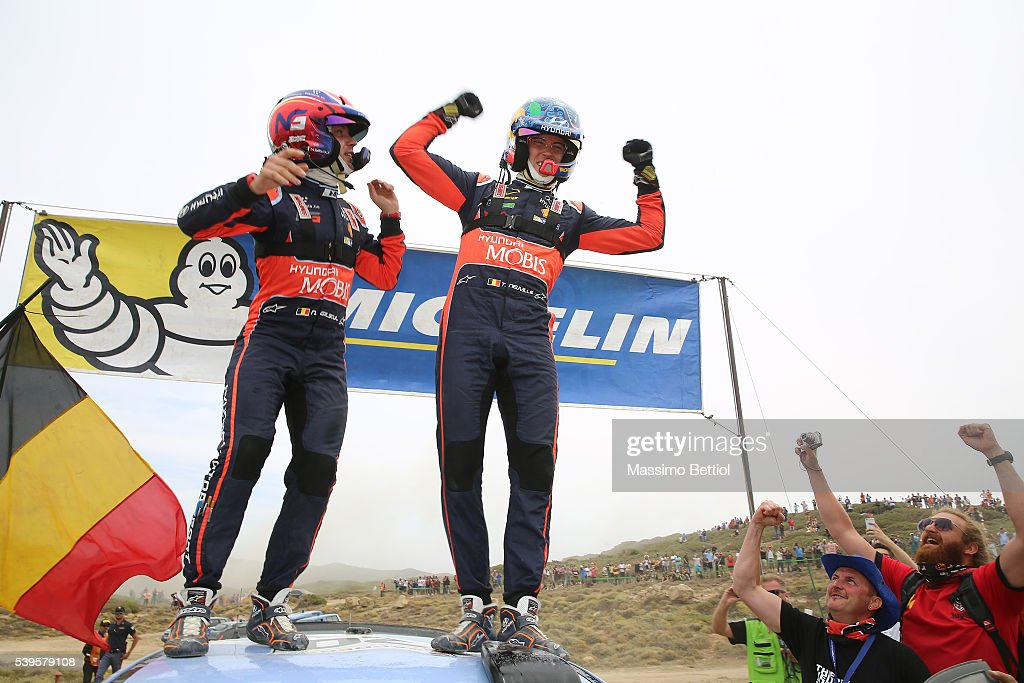 <a gi-track='captionPersonalityLinkClicked' href=/galleries/search?phrase=Thierry+Neuville&family=editorial&specificpeople=8627679 ng-click='$event.stopPropagation()'>Thierry Neuville</a> of Belgium and Nicolas Gilsoul of Belgium celebrate their victory during Day Three of the WRC Italy Sardegna on June 12, 2016 in Alghero, Italy.