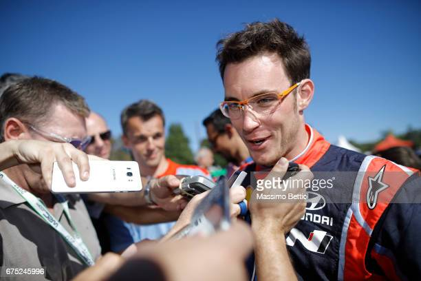 Thierry Neuville of Belgium and Nicolas Gilsoul of Belgium celebrate their Victory during Day Three of the WRC Argentina on April 30 2017 in Villa...