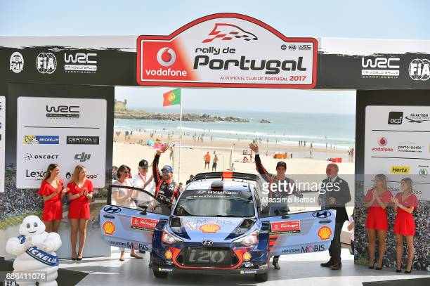 Thierry Neuville of Belgium and Nicolas Gilsoul of Belgium celebrate their second position in the final overall during Day Three of the WRC Portugal...