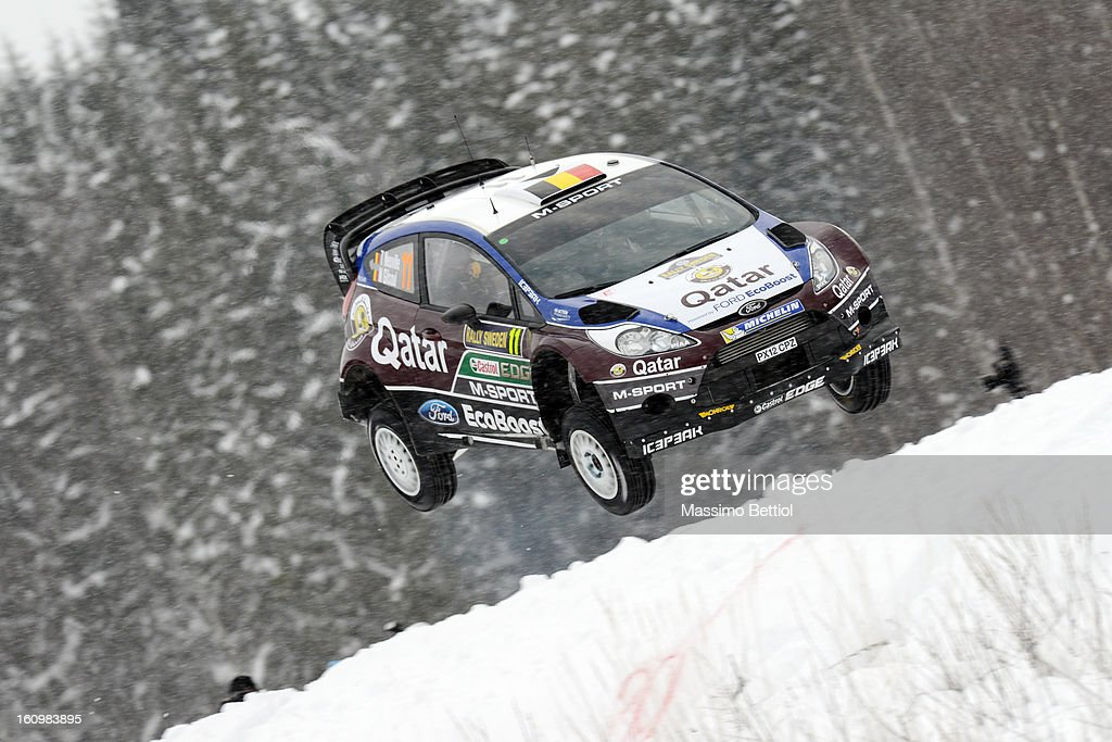 Thierry Neuville of Belgium and Nicolas Gilsoul of Belgium compete in their Qatar WRT Ford Fiesta RS WRC during Day One of the WRC Sweden on February 08 , 2013 in Karlstad , Sweden.