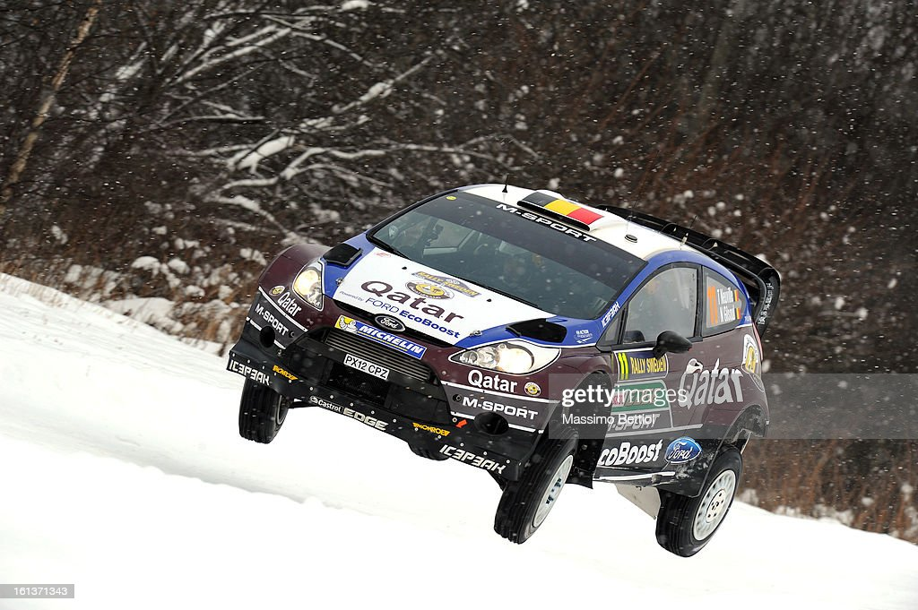 Thierry Neuville of Belgium and Nicolas Gilsoul of Belgium compete in their Qatar WRT Ford Fiesta RS WRC during Day Three of the WRC Sweden on February 10 , 2013 in Karlstad , Sweden.