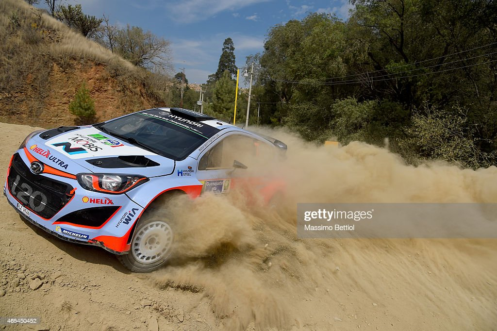 <a gi-track='captionPersonalityLinkClicked' href=/galleries/search?phrase=Thierry+Neuville&family=editorial&specificpeople=8627679 ng-click='$event.stopPropagation()'>Thierry Neuville</a> of Belgium and Nicolas Gilsoul of Belgium compete in their Hyundai Motorsport Hyundai i20 WRC during Day One of the WRC Mexico on March 6, 2015 in Leon, Mexico.