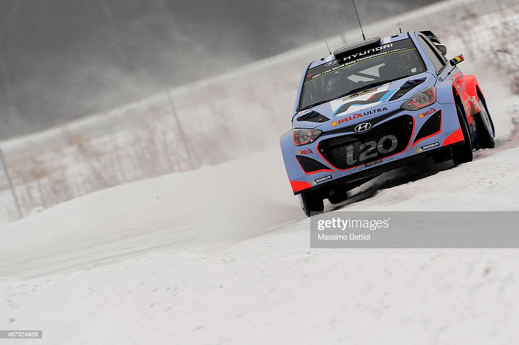 Thierry Neuville of Belgium and Nicolas Gilsoul of Belgium compete in their Hyundai Motorsport Hyundai ì20 WRC during Day One of the WRC Sweden on...