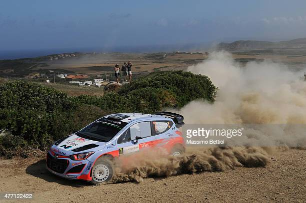 Thierry Neuville of Belgium and Nicolas Gilsoul of Belgium compete in their Hyundai Motorsport Hyundai i20 WRC during Day Three of the WRC Italy on...