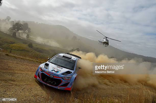 Thierry Neuville of Belgium and Nicolas Gilsoul of Belgium compete in their Hyundai Motorsport WRT Hyundai i20 WRC during Day One of the WRC...
