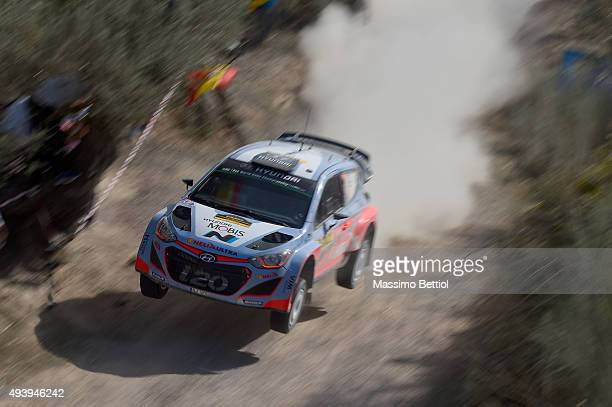 Thierry Neuville of Belgium and Nicolas Gilsoul of Belgium compete in their Hyundai Motorsport Hyundai i20 WRC during Day One of the WRC Spain on...