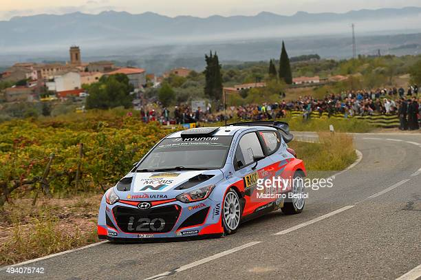 Thierry Neuville of Belgium and Nicolas Gilsoul of Belgium compete in their Hyundai Motorsport Hyundai i20 WRC during Day Two of the WRC Spain on...