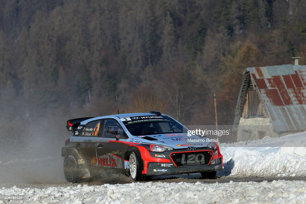 <a gi-track='captionPersonalityLinkClicked' href=/galleries/search?phrase=Thierry+Neuville&family=editorial&specificpeople=8627679 ng-click='$event.stopPropagation()'>Thierry Neuville</a> of Belgium and Nicolas Gilsoul of Belgium compete in their Hyundai Motorsport Hyundai i20 WRC during Day Three of the WRC Monte Carlo on January 23, 2016 in Gap, France.