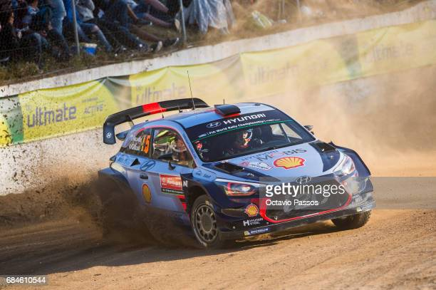 Thierry Neuville of Belgium and Nicolas Gilsoul of Belgium compete in their Hyundai Motorsport WRT Hyundai i20 WRC during the SSS1 Lousada of the WRC...