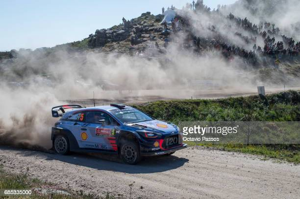 Thierry Neuville of Belgium and Nicolas Gilsoul of Belgium compete in their Hyundai Motorsport WRT Hyundai i20 WRC during the SS6 Caminha of the WRC...