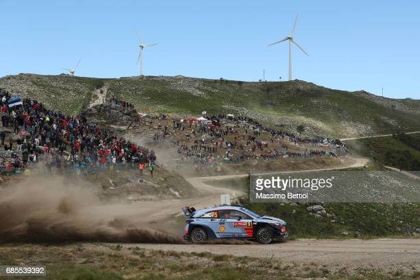 Thierry Neuville of Belgium and Nicolas Gilsoul of Belgium compete in their Hyundai Motorsport WRT Hyundai i20 WRC during Day One of the WRC Portugal...