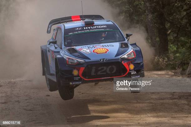 Thierry Neuville of Belgium and Nicolas Gilsoul of Belgium compete in their Hyundai Motorsport WRT Hyundai i20 WRC during the SS15 Amarante of the...