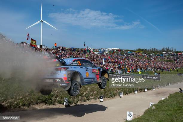 Thierry Neuville of Belgium and Nicolas Gilsoul of Belgium compete in their Hyundai Motorsport WRT Hyundai i20 WRC during the SS16 Fafe of the WRC...