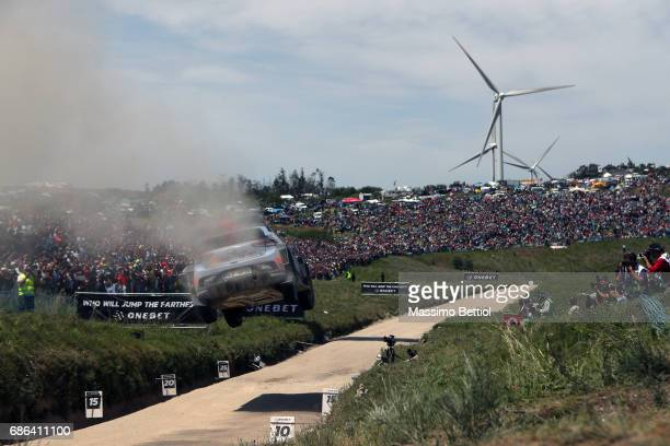 Thierry Neuville of Belgium and Nicolas Gilsoul of Belgium compete in their Hyundai Motorsport WRT Hyundai i20 WRC during Day Three of the WRC...