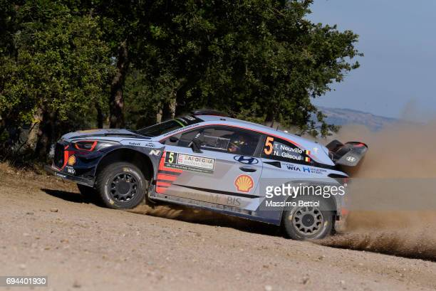 Thierry Neuville of Belgium and Nicolas Gilsoul of Belgium compete in their Toyota Gazoo Racing WRT Toyota Yaris WRC during Day One of the WRC Italy...