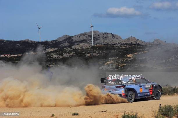Thierry Neuville of Belgium and Nicolas Gilsoul of Belgium compete in their Hyundai Motorsport WRT Hyundai i20 Coupe WRC during Day Two of the WRC...
