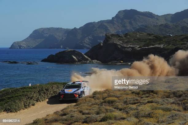 Thierry Neuville of Belgium and Nicolas Gilsoul of Belgium compete in their Hyundai Motorsport WRT Hyundai i20 Coupe WRC during Day Three of the WRC...