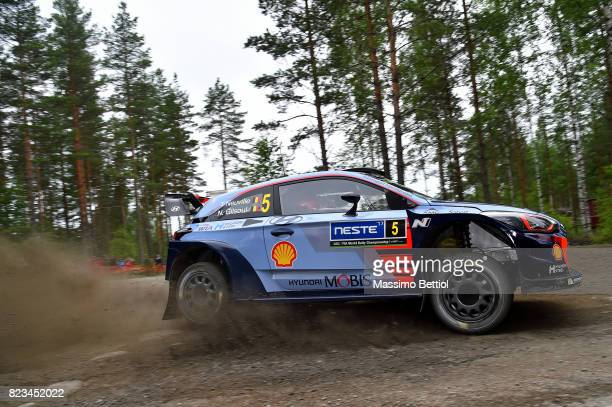 Thierry Neuville of Belgium and Nicolas Gilsoul of Belgium compete in their Hyundai Motorsport WRT Hyundai i20 WRC during the Shakedown of the WRC...