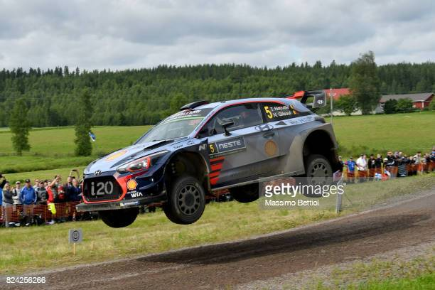 Thierry Neuville of Belgium and Nicolas Gilsoul of Belgium compete in their Hyundai Motorport WRT Hyundai i20 Coupè WRC during Day Two of the WRC...