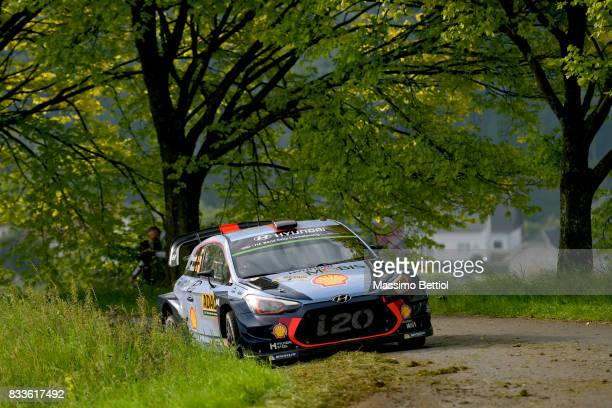 Thierry Neuville of Belgium and Nicolas Gilsoul of Belgium compete in their Hyundai Motorsport WRT Hyundai i20 Coupè WRC during the Shakedown of the...