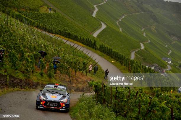 Thierry Neuville of Belgium and Nicolas Gilsoul of Belgium compete in their Hyundai Motorsport WRT Hyundai i20 Coupè WRC during Day One of the WRC...