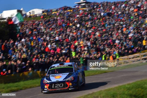 Thierry Neuville of Belgium and Nicolas Gilsoul of Belgium compete in their Hyundai Motorsport WRT Hyundai i20 Coupè WRC during Day Two of the WRC...