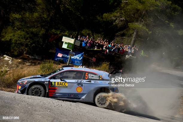 Thierry Neuville of Belgium and Nicolas Gilsoul of Belgium compete in their Hyundai Motorsport WRT Hyundai i20 coupe WRC during Day One of the WRC...