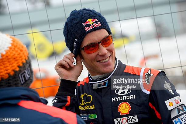 Thierry Neuville of Belgium during Day Two of the WRC Sweden on February 14 2015 in Karlstad Sweden