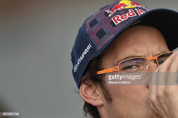 Thierry Neuville of Belgium has been taken inside the service area of Jyvaskyla during Day One of the WRC Finland on July 31 2015 in Jyvaskyla Finland