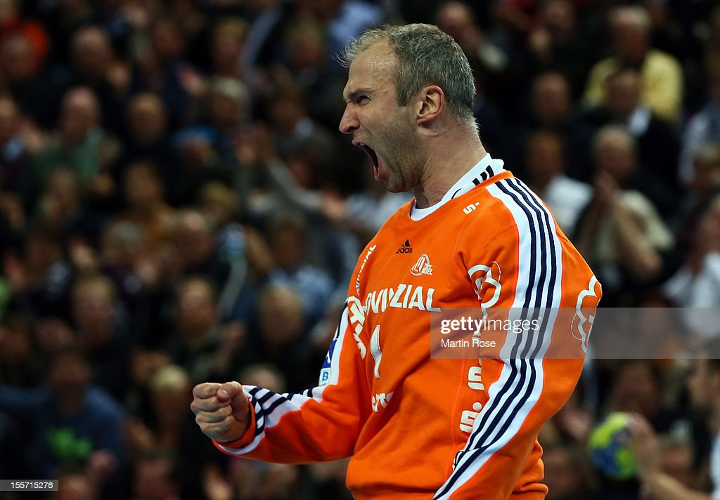 <a gi-track='captionPersonalityLinkClicked' href=/galleries/search?phrase=Thierry+Omeyer&family=editorial&specificpeople=853674 ng-click='$event.stopPropagation()'>Thierry Omeyer</a>, goalkeeper of Kiel celebrates during the DKB Handball Bundesliga match between THW Kiel and SG Flensburg-Handewitt at Sparkassen Arena on November 7, 2012 in Kiel, Germany.