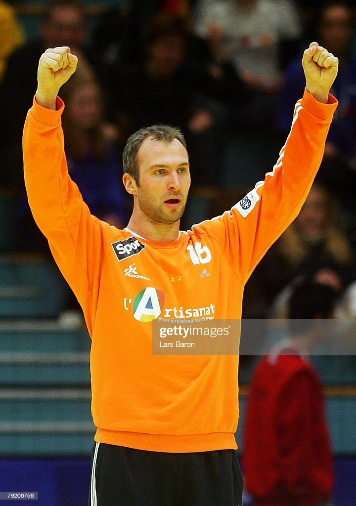 Thierry Omeyer of France celebrates after a save during the Men's Handball European Championship main round Group II match between Germany and France at Trondheim Spektrum on January 23, 2008 in Trondheim, Norway.