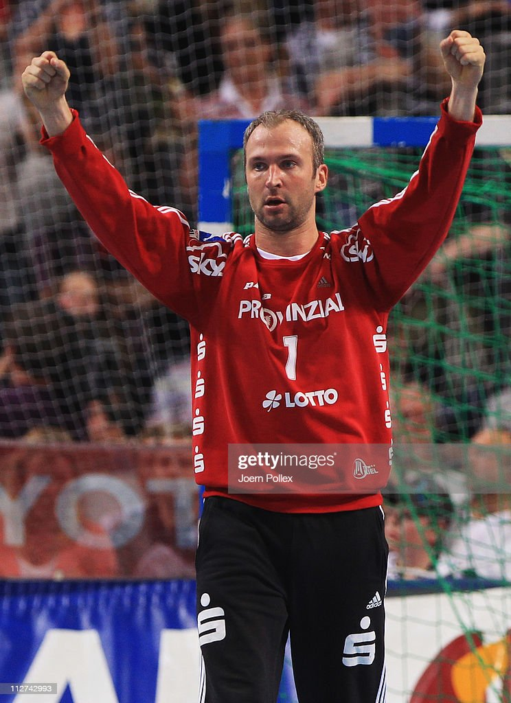 <a gi-track='captionPersonalityLinkClicked' href=/galleries/search?phrase=Thierry+Omeyer&family=editorial&specificpeople=853674 ng-click='$event.stopPropagation()'>Thierry Omeyer</a> of Kiel celebrates during the Toyota Handball Bundesliga match between THW Kiel and HSV Hamburg at the Sparkassen Arena on April 20, 2011 in Kiel, Germany.