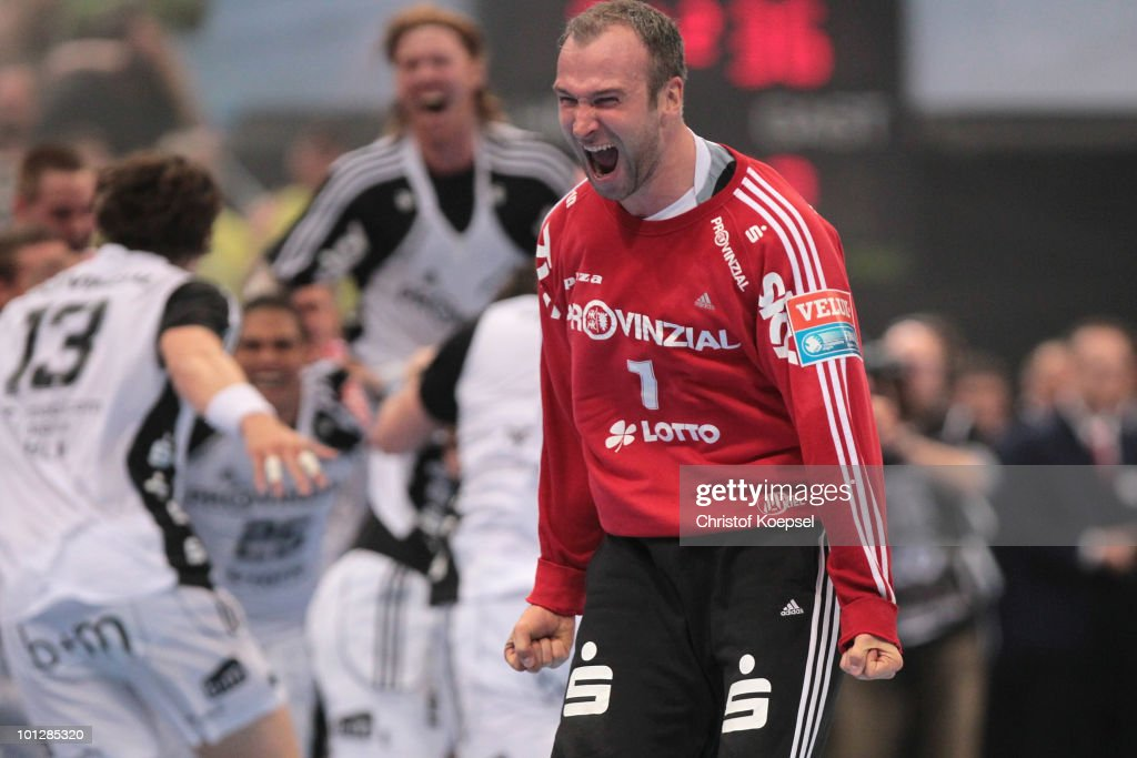 <a gi-track='captionPersonalityLinkClicked' href=/galleries/search?phrase=Thierry+Omeyer&family=editorial&specificpeople=853674 ng-click='$event.stopPropagation()'>Thierry Omeyer</a> of Kiel celebrates winning 36-34 the handball final match between THW Kiel and FC Barcelona Borges at the Lanxess Arena on May 30 in Cologne, Germany.