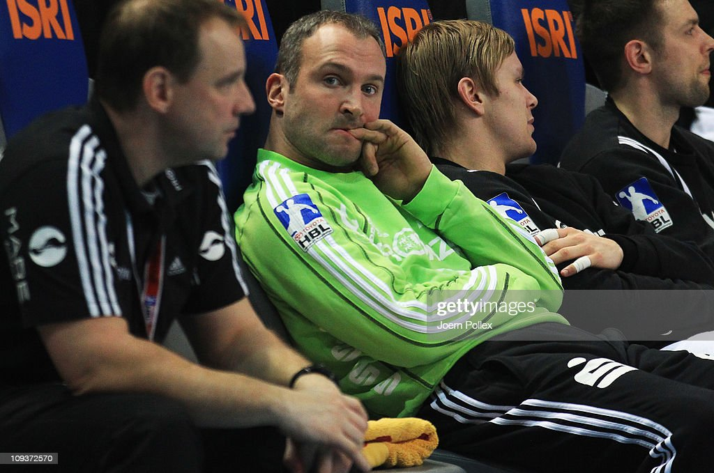 <a gi-track='captionPersonalityLinkClicked' href=/galleries/search?phrase=Thierry+Omeyer&family=editorial&specificpeople=853674 ng-click='$event.stopPropagation()'>Thierry Omeyer</a> of Kiel is is seen on the bench during the Toyota Handball Bundesliga match between THW Kiel and MT Melsungen at the Sparkassen Arena on February 23, 2011 in Kiel, Germany.
