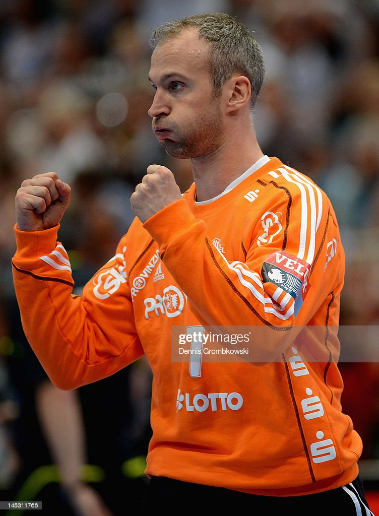 <a gi-track='captionPersonalityLinkClicked' href=/galleries/search?phrase=Thierry+Omeyer&family=editorial&specificpeople=853674 ng-click='$event.stopPropagation()'>Thierry Omeyer</a> of Kiel reacts during the EHF Final Four semi final match between Fuechse Berlin and THW Kiel at Lanxess Arena on May 26, 2012 in Cologne, Germany.